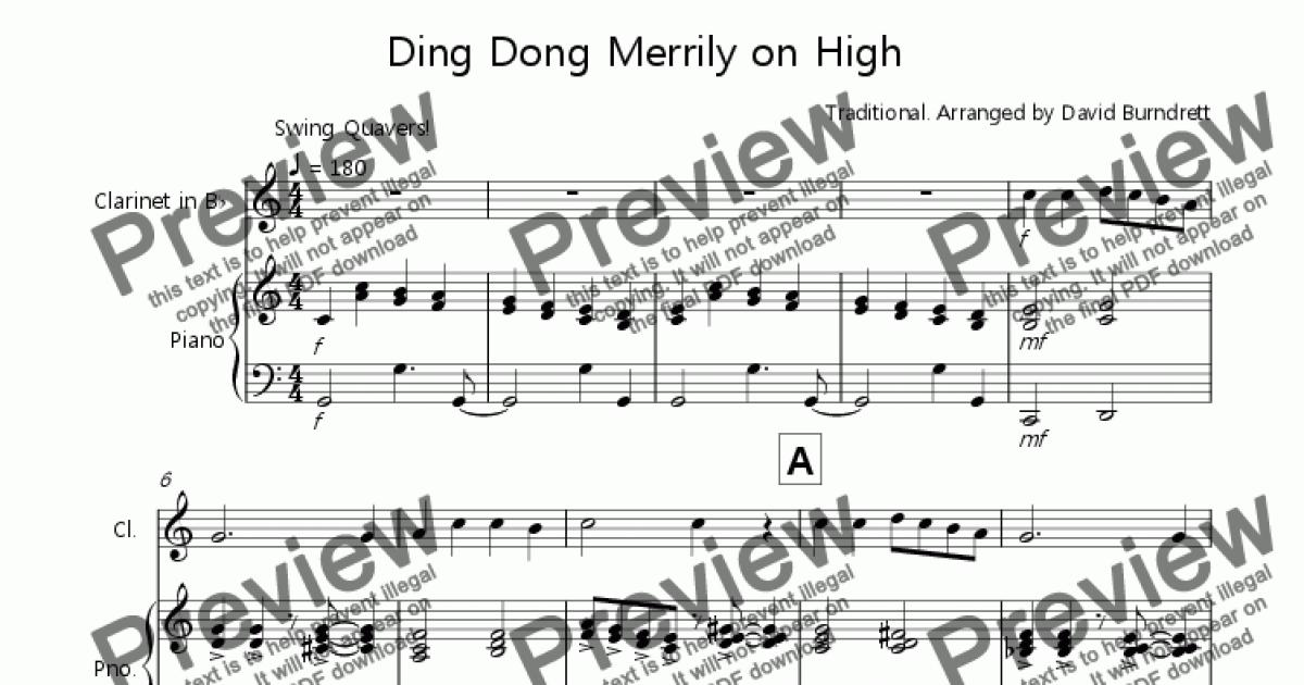 Ding Dong Merrily on High (Jazzy Version!) for Clarinet