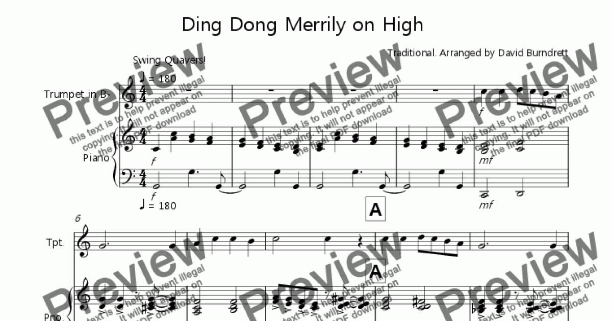Trumpet in B^b part from Ding Dong Merrily on High (Jazzy