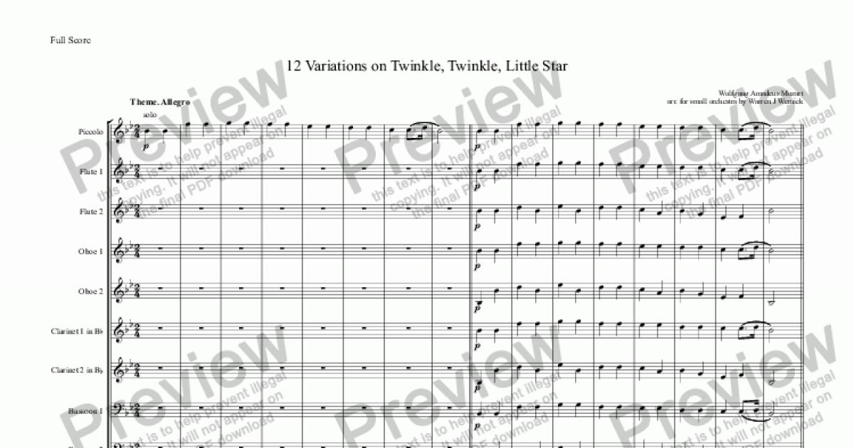 Bassoon 1 part from 12 Variations on Twinkle, Twinkle