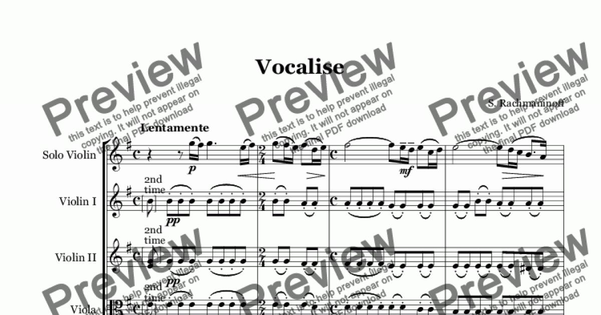 Rachmaninoff Vocalise for Violin and String Orchestra
