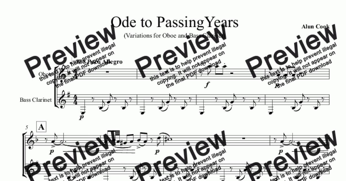Ode to Passing Years (Duet for Oboe and Bass Clarinet