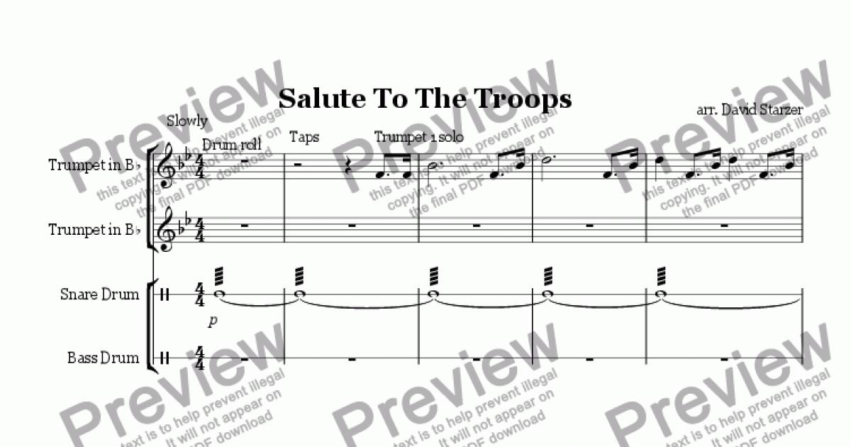 Snare Drum part from Salute To The Troops (Trumpet Duet