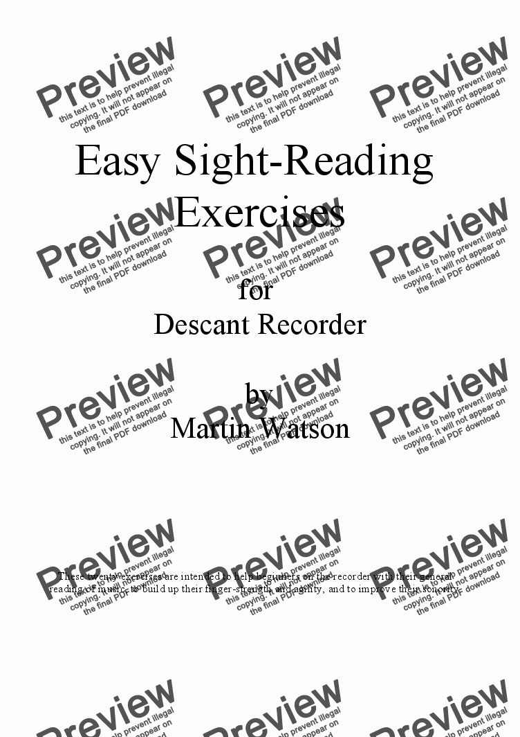 Easy Sight-Reading Exercises for Descant Recorder