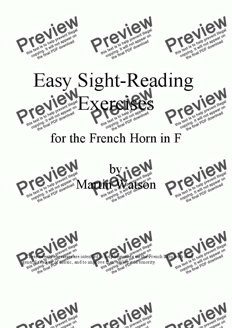 Easy Sight-Reading Exercises for the French Horn
