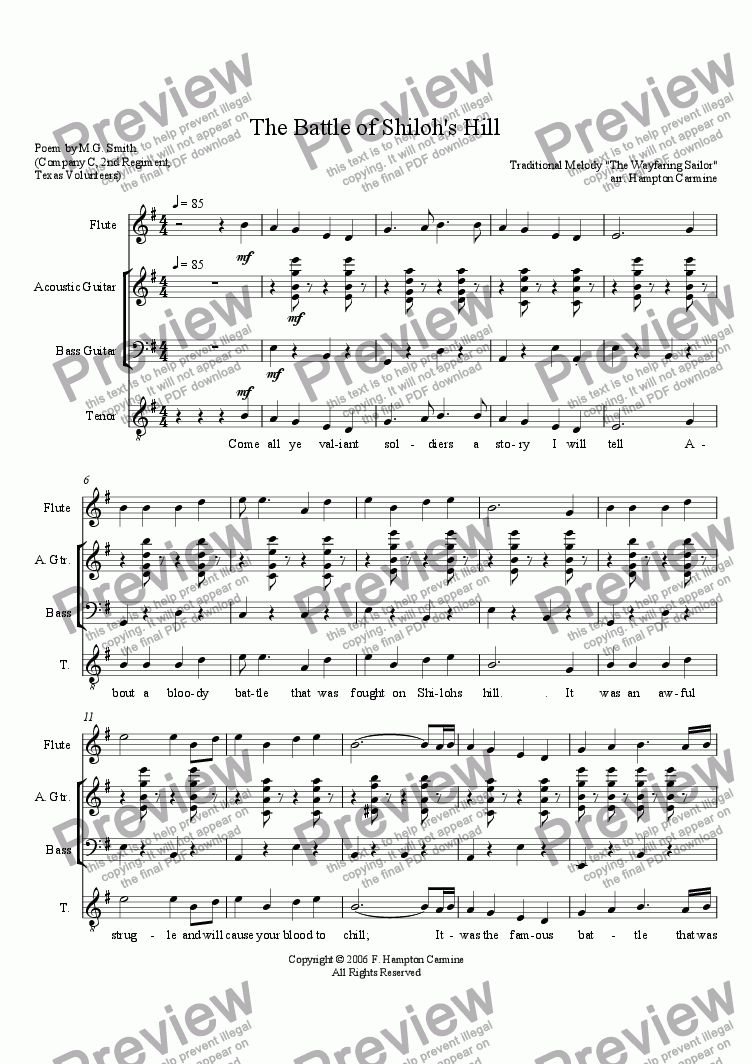 medium resolution of The Battle of Shiloh Hill - Download Sheet Music PDF file