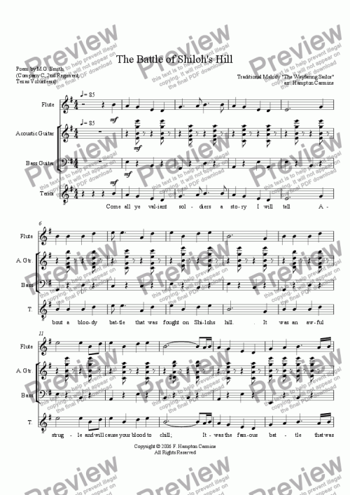 small resolution of The Battle of Shiloh Hill - Download Sheet Music PDF file