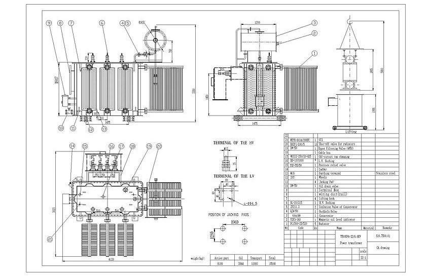 China 7.5 MVA 22 KV To 6.6 KV Electrical Power Transformer