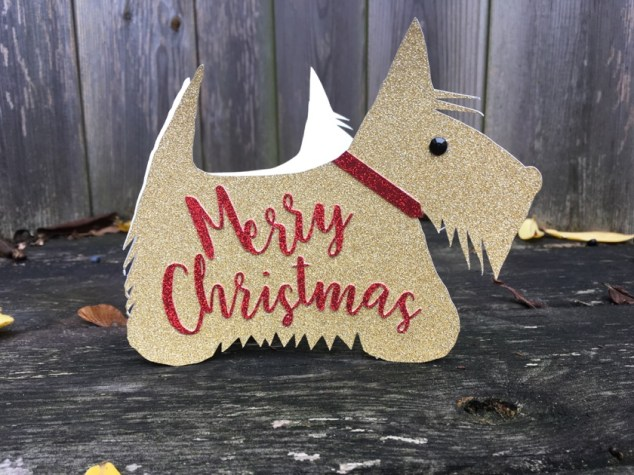 scottie gold glitter card
