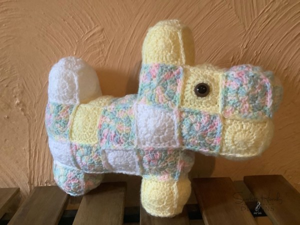 patchwork crocheted scottie dogs yellow
