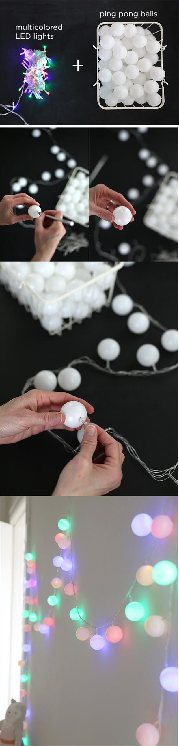 Easy festive lights from ping pong balls