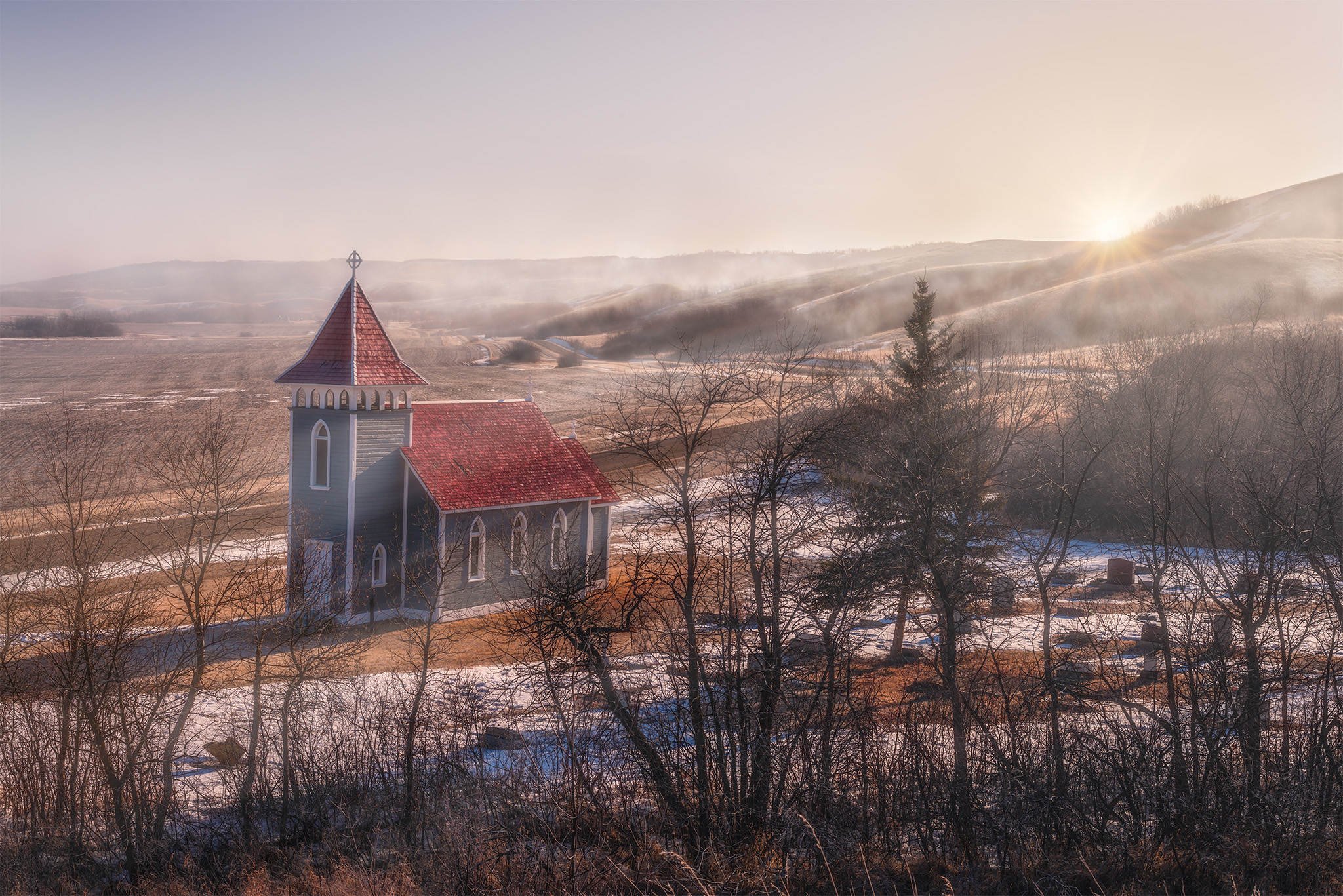 Little Church in the Valley near Craven with fog and morning light