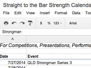 Straight to the Bar Strength Calendar 2014