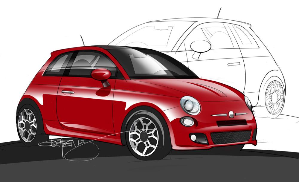 2012 Fiat 500 Sketch And Rendering ScottDesigner