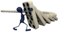 Stick Figure Holding Up falling dominoes