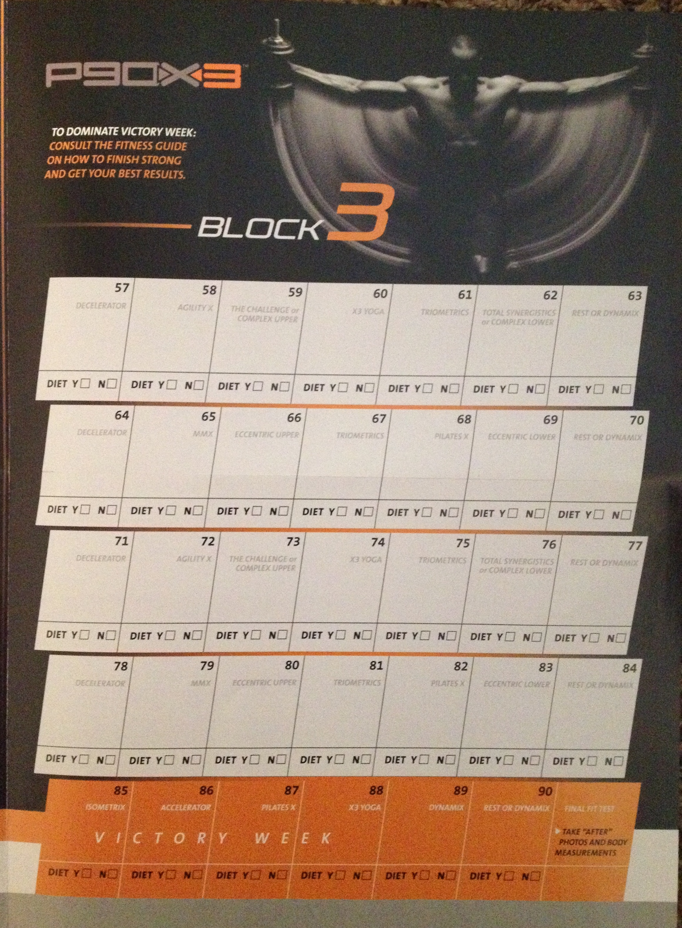 P90x3 Doubles Workout Schedule