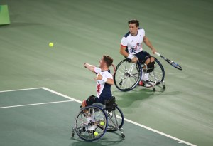 Gordon Reid and Alfie Hewett on court
