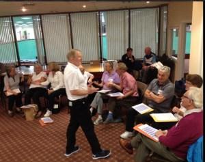 Richard Brickley tutoring at the Inclusive Bowls Coaching Workshop
