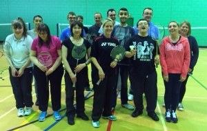 Julie Hogg with players at Cowdenbeath