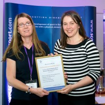 Lynn Melville receiving the MOR certificate on behalf of Perth & Kinross Disability Sport