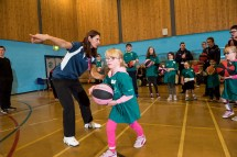 Tina Gordon from basketball Scotland instructing running basketball players in drills