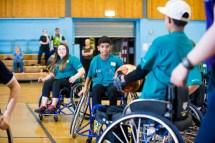 Wheelchair basketball game in progress