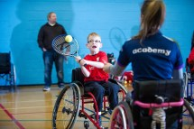 Wheelchair tennis session with Shelby Watson coaching
