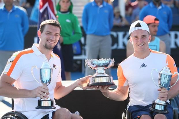 Gordon Reid and Joachim Gerard with trophy
