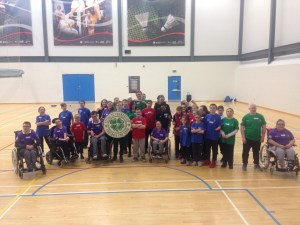 Group photo of participants with Celtic FC Foundation logo