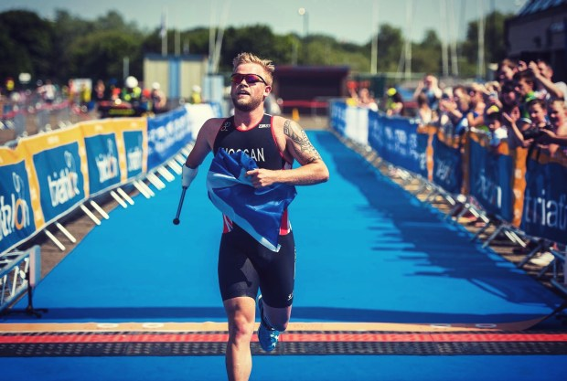 Stefan running towards finishing line