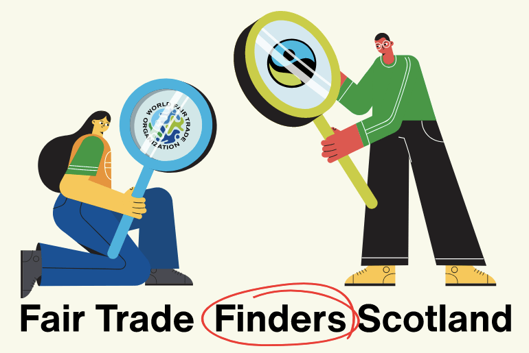 Fair Trade Finders Scotland logo: two cartoonish people holding two magnifers