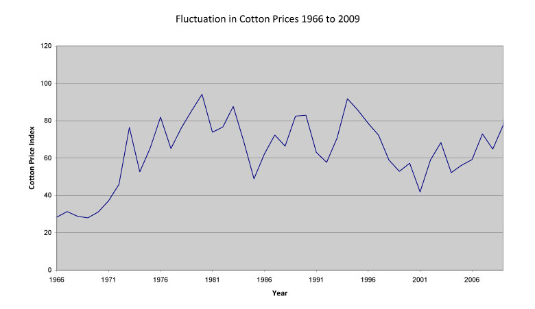 A graphic about fluctuation in Cotton Prices
