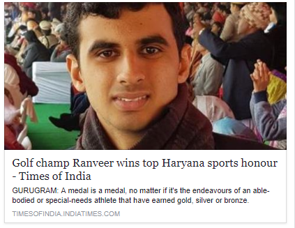 Golf champ Ranveer wins top Haryana sports honour