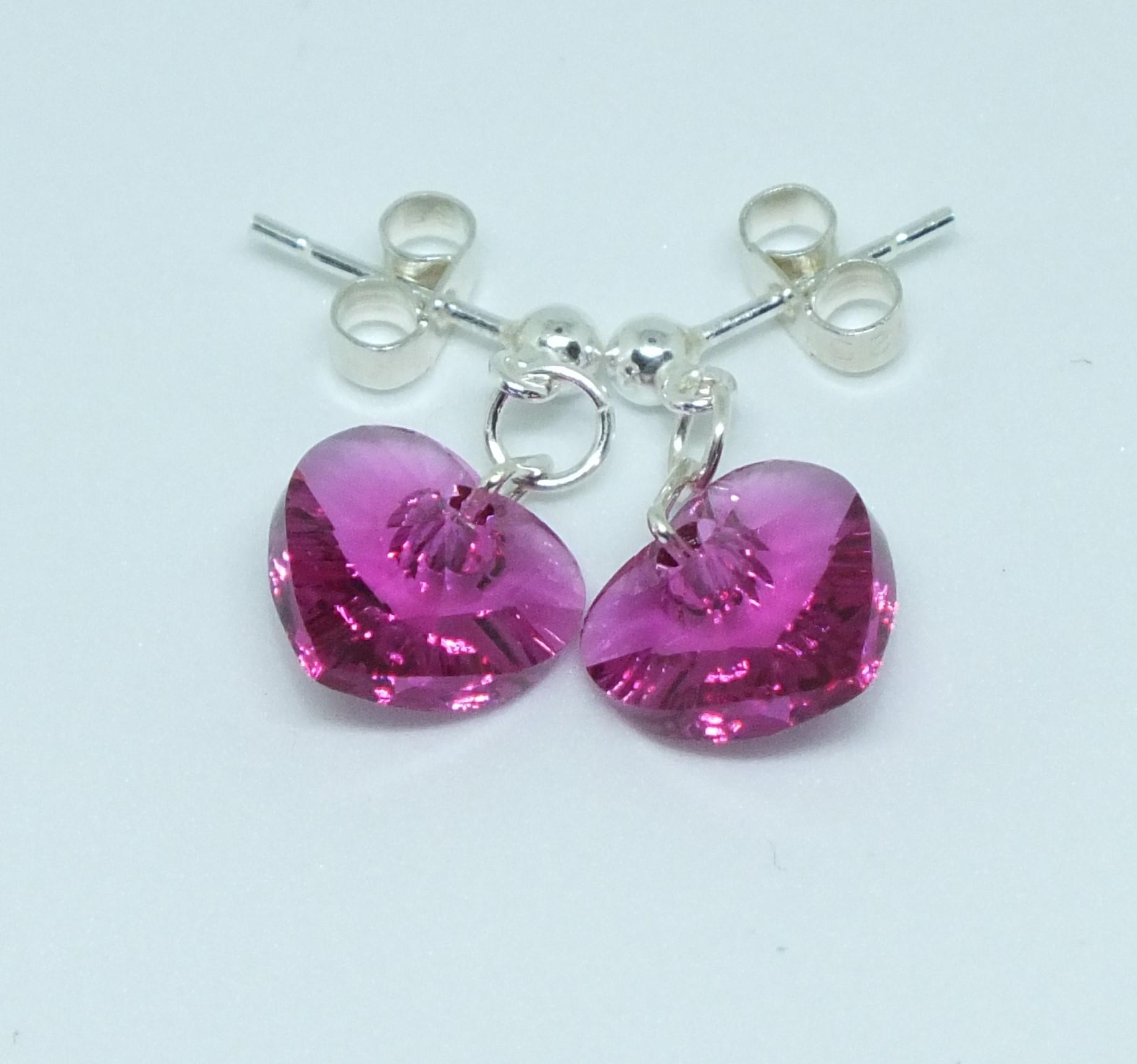 d177cdeea9b40 Swarovski Fuschia Pink Heart Earrings On Sterling Silver Stud Earwires