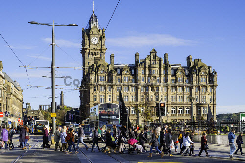 View Along Princes Street To The Balmoral Hotel With Busy