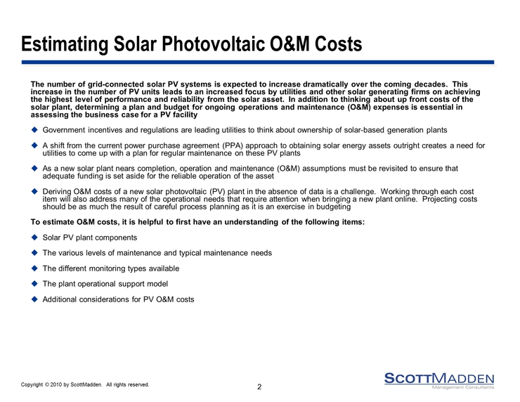 Solar Photovoltaic Plant Operating And Maintenance Costs