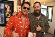 Here I am giving a copy of the finished CD to Chapel owner Mike, errr, I mean Elvis, of course!