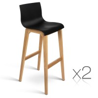 2 Bar Stools Oak Wood Wooden Dining Chairs Kitchen High ...