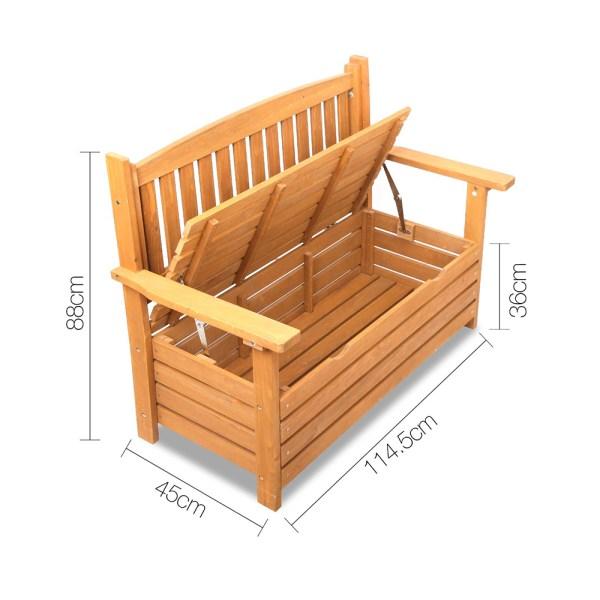 Wooden 2 Seat Storage Box Outdoor Timber Furniture Garden