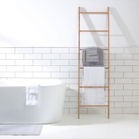 Bamboo Towel Rack Ladder Holder Clothes Rung Rail Shelf