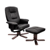 PU Leather Swivel Arm Lounge Chair Recliner Ottoman Office ...