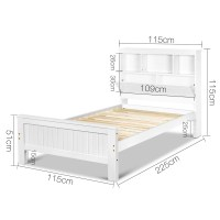 King Single White Bed Frame