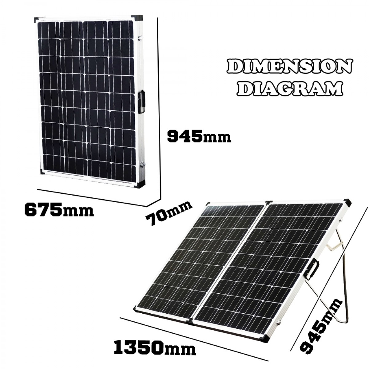 12V 250W Folding Solar Panel Kit Caravan Boat Camping