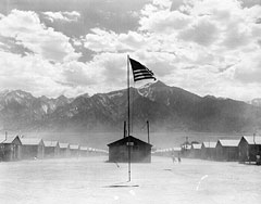Photograph of Dust Storm at Manzanar War Relocation Authority Center, 07/03/1942