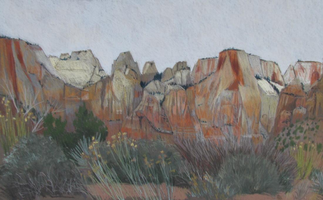 Zion, Utah, pastel, Scotty Mitchell