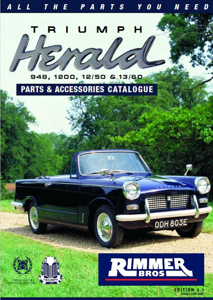 Triumph Herald Parts Guide Scottys Supplier Library