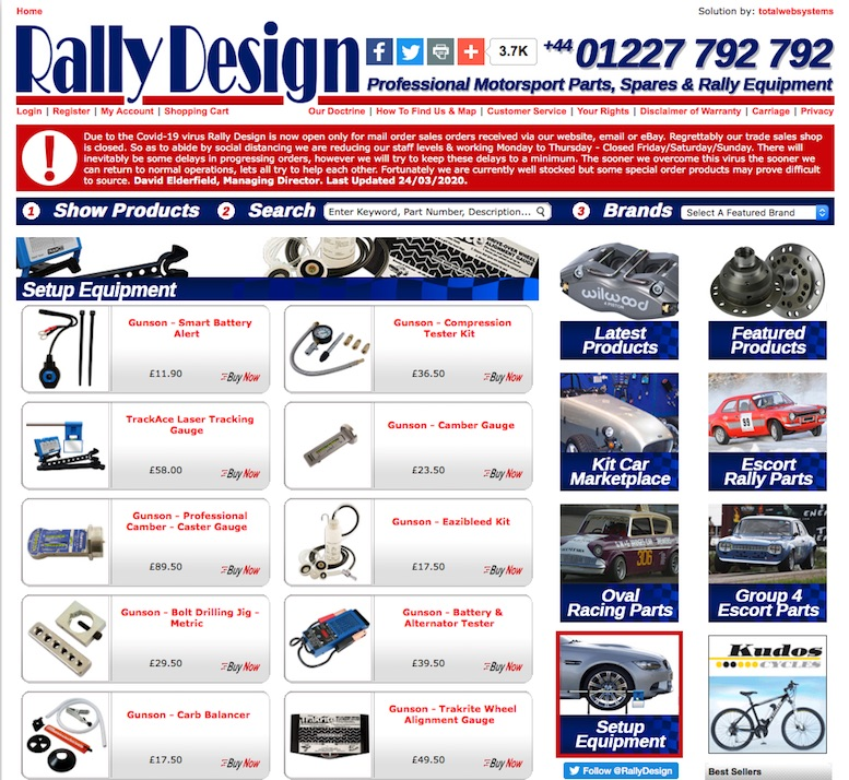 RALLY DESIGN WEBSITE in SCOTTYS Supplier Library