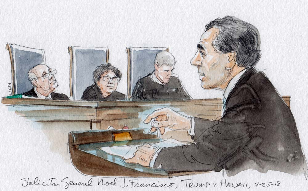 Image result for drawings of government arguing travel ban before supreme court