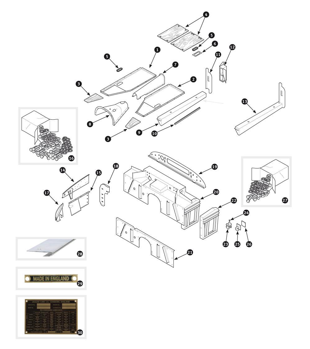 Parts for Jaguar XK120, XK140 and XK150 • Inner body