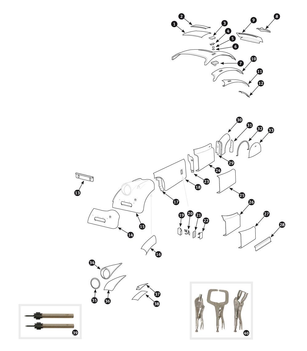 Parts for Jaguar XK120, XK140 and XK150 • Outer body