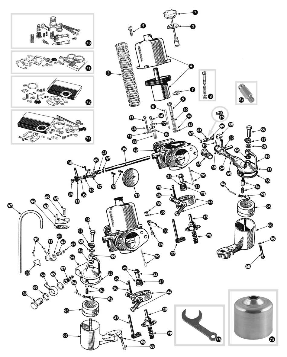 Rolls royce models >> parts for austin healey bn1 bj8 carburetor bj8